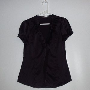 TO THE MAX WOMEN'S SIZE M BLACK RUFFLE BLOUSE TOP